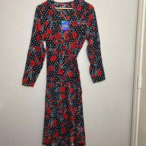 Floral/Polka Dot high low wrap dress